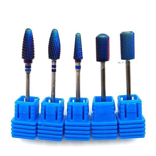Blue Tungsten Carbide Burrs Nano Coating Nail Drill Bit Metal Bits For Manicure Electric Nail Drill Accessories 5PCS SET (Color: 5PCS SET)