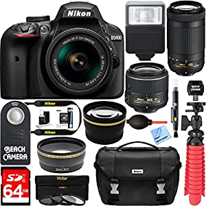 Nikon D3400 24.2 MP DSLR Camera + AF-P DX 18-55mm & 70-300mm NIKKOR Zoom Lens Kit + 64GB Memory Bundle + Photo Bag + Wide Angle Lens + 2x Telephoto Lens + Flash + Remote +Tripod+Filters (Black)