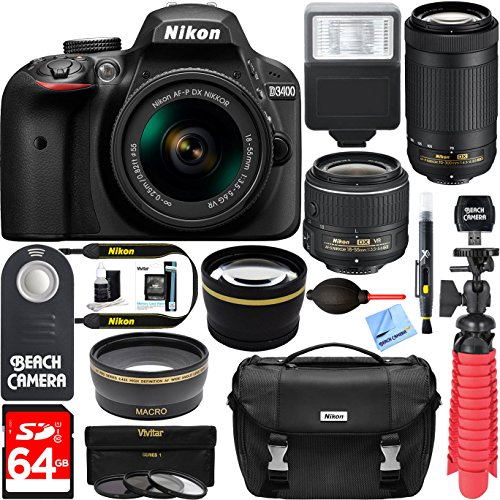 Nikon-D3400-242-MP-DSLR-Camera-AF-P-DX-18-55mm-70-300mm-NIKKOR-Zoom-Lens-Kit-64GB-Memory-Bundle-Photo-Bag-Wide-Angle-Lens-2x-Telephoto-Lens-Flash-Remote-TripodFilters-Black