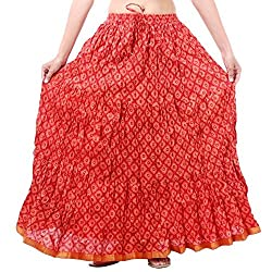 Prateek exports Beautiful Designer Orange Printed Long Skirt