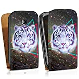 HTC Desire C leather case bag cover Downflip white - Galaxy Tiger