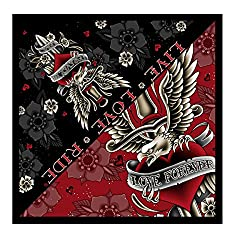 """Hot Leathers Signature Bikers Bandanas Collection Original Design, 21"""" x 21"""" - BANDANA DAGGER HEART, """"Forever in Love"""" from Officially Licensed & Trademarked Products"""