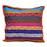 Eminent Craft Marilla Decorative Throw Pillow / Cushion Cover Red 16' X 16' Cotton Kantha Handmade in Jaipur India
