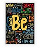 "Be Happy, strong, brave Life Inspirational Quotes Collage Wall Decor Poster In A3 (16.5"" x 11.7"") (standard)"