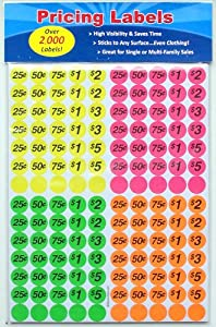 Preprinted Garage Sale Pricing Labels, 0.75 Inches, Round Stickers, Pack of 2,100 (MC)