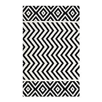 Modway R-1011A-58 Ailani Geometric Chevron/Diamond Area Rug, 5X8, Black and White