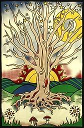 Sunshine Joy Twilight Tree Of Life Indian Tapestry Beach Sheet Hanging Wall Art (60X90 inches)