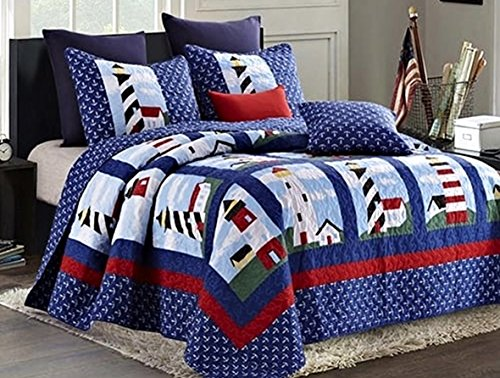 Nautical Lighthouse 3pc Full/Queen Size Quilt Set (90