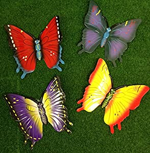 Set of 4 Large 3D Colourful Wall Hanging Home or Garden Butterflies