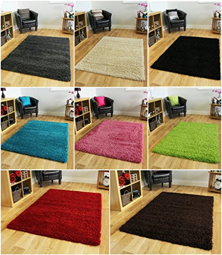 """Thick Modern Small Medium Soft Anti Shed Luxury Vibrant Shaggy Area Rugs - 8 Colours & 5 Sizes Available (Grey 2' x 3'7"""")"""