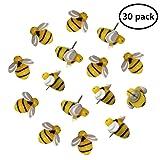 EnewLife 30 Pcs Creative Decorative Cute Bees Thumb Tacks ThumbNails PushPins Push Pins Soft Flat for Photos Wall, Maps, Bulletin Board or Corkboards (30 Pcs Bees Pins) (Color: 30 Pcs Bees Pins)