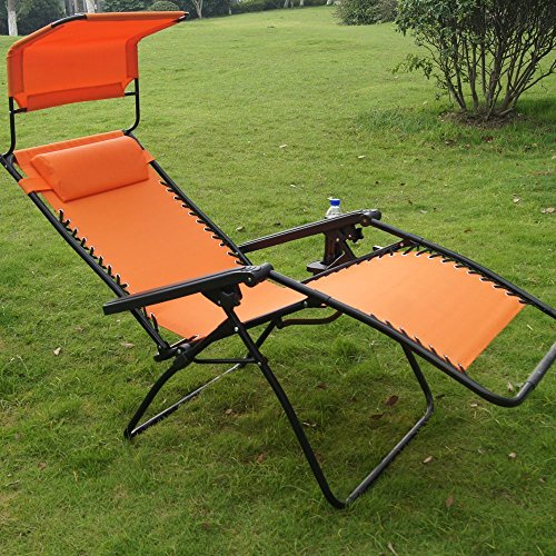 2 Pack Prime Garden Oversized Zero Gravity Chairs Canopy Padded Pillow Orange