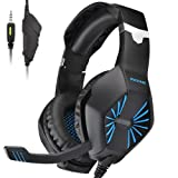 PECHAM Gaming Headset with Mic for Xbox One, PS4,Nintendo Switch, PC - Surround Sound, Noise Reduction Game Earphone - Easy Volume Control - 3.5MM Jack for Smart phone, Laptops, computer (Color: Blue)