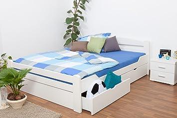 """Doppelbett / Funktionsbett """"Easy Sleep"""" K4 inkl. 2 Schubladen und 1 Abdeckblende, 180 x 200 cm Buche Vollholz massiv weiß lackiert"""
