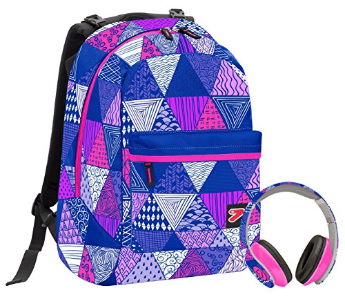 Zaino SEVEN THE DOUBLE - DIGITAL - Rosa Blu - cuffie stereo WIRELESS con grafica abbinata incluse! 2 zaini in 1 REVERSIBILE