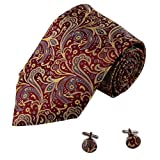 A1118 Burgundy Gold Patterned Wedding Goods Mens Handsome Gift Silk Tie Cufflinks Set 2PT By Y&G