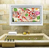WOW INTERIORS SWIMMIMG GOLDEN FISHES FLOOR CUM FALSE 3DWALL STICKERS