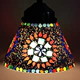 EarthenMetal Handcrafted Conical Shaped Mosaic Decorated Multicoloured Glass Hanging Light