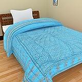 Rajkruti pure cotton jaipuri razai / rajai single bed cotton rajasthani sanganeri floral print quilt blanket with 100% cotton inner material (60 Inches x 90 Inches,QT008)