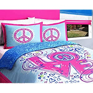 Girls Kids Peace Love Twin Comforter Bed In A Bag Set
