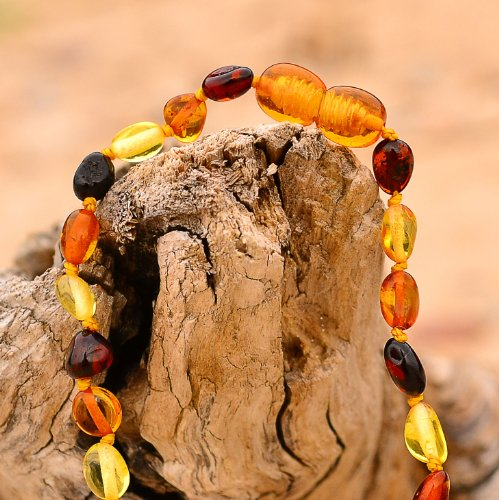 Multicolored Beans Shape Baltic Amber Teething Necklace for Babies
