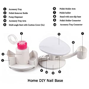 Makartt Nail Base Manicure Pedicure Studio with Accessory Holder and Multi angle Rest- for Home DIY Nail Art (Color: Nail Base for Manicure Pedicure)