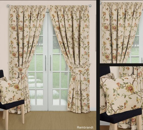 Best Rembrandt Tapestry Floral Pencil Pleat Readymade Curtains 90 ...