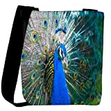 Snoogg peacock side view Womens Carry Around Cross Body Tote Handbag Sling Bags