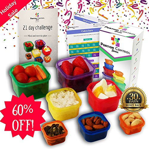HOLIDAY SALE - 60% OFF! - 7 Piece Portion Control Containers Kit for Weight Loss. COMPLETE GUIDE + 21 Day Meal TRACKER + FULL Meal Plan E-BOOK Included. Comparable to Beachbody 21-Day Fix (21 Day Meal Containers compare prices)