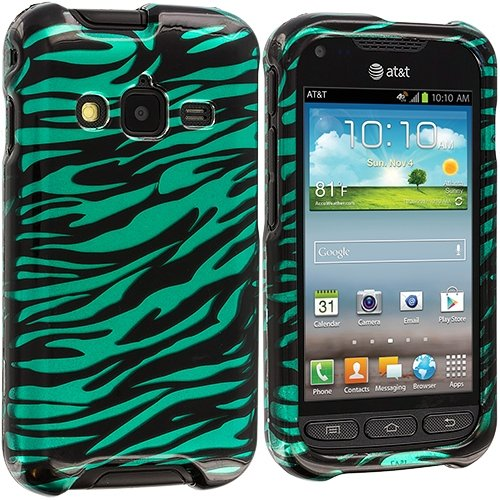 Cell Accessories For Less (Tm) Black / Baby Blue Zebra Design Crystal Hard Case Cover For Samsung Rugby Pro I547 - By Thetargetbuys front-654997