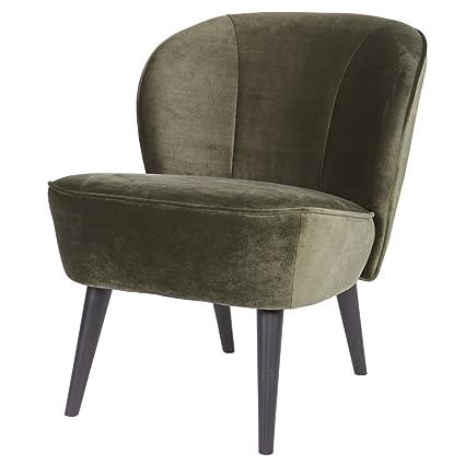 Vintage Sessel Polstersessel SARA Samt Loungesessel Clubsessel Fernsehsessel (warmgrun)