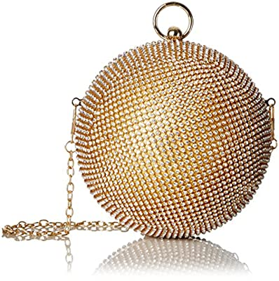 Aldo Morgano Round Rhinestone-Covered Clutch