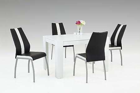 Essgruppe, Sitzgruppe, Essgarnitur, Esszimmergarnitur, Esstisch, Stuhle, Esszimmertisch, Kuchentisch, schwarz, weiß, Kunstleder