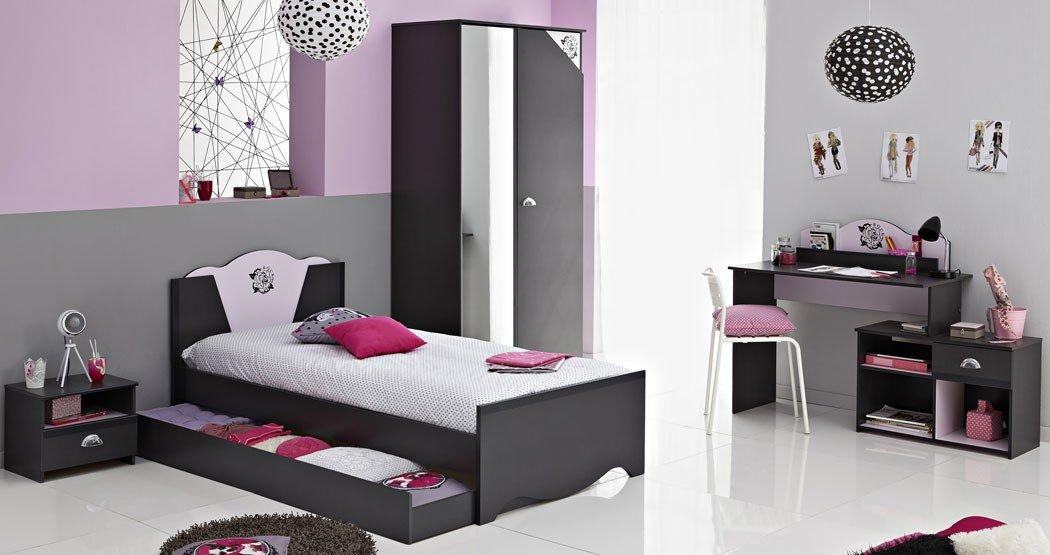 Kinderzimmer Tadeo 1 dunkelgrau rosa, Schrank Bett Nachttisch Schreibtisch, Bettkasten Kleiderschrank Kinderbett kaufen