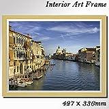 インテリア風景画 額付きアートパネル イタリアベニスの美しい景色 ベージュ