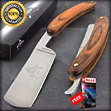 9.5'' STRAIGHT EDGE FOLDING STEEL RAZOR WOOD HANDLE Shaving Knife Barber Beard Combat Tactical Knife + eBOOK by Moon Knives
