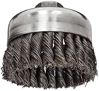 """Weiler Wire Cup Brush, Threaded Hole, Steel, Full Twist Knotted, 4"""" Diameter, 0.023"""" Wire Diameter, 5/8""""-11 Arbor, 1-1/4"""" Bristle Length, 9000 rpm (Pack of 1)"""