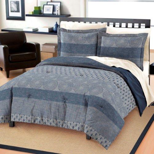 Dream Factory Marina All Cotton Comforter And Sham Set, King, Blue