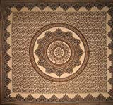"SS36603 - India Arts Tablecloth ~ Several Sizes Available ~ 100% Cotton (Brown Mandala, 64"" X 90"")"