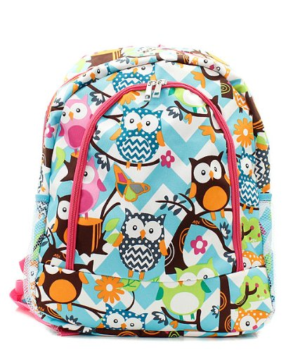 Owl Chevron Stripe Large Canvas Backpack Handbag (HOT PINK)