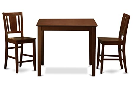 East West Furniture EWBU3-MAH-W 3-Piece Counter Height Dining Table Set