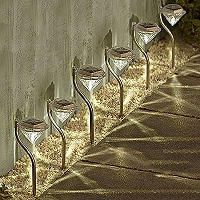 Solalite 6 Pack Stainless Steel Solar Powered Diamond Stake Lights Garden Border Lanterns
