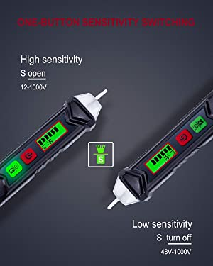 Non-Contact Voltage Tester with Adjustable Sensitivity, LCD Display, LED Flashlight, Buzzer Alarm, Dual Range 12V-1000V/48V-1000V & Live/Null Wire Jud