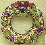 Unique Grape & Grapevine Metal Wine Cork Holder Wreath - Wall and Door Decoration