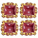 DollsofIndia Set Of Four Hand Painted Maroon Square Diya - Terracotta