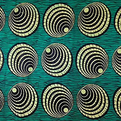 African Print Fabric Cotton Print Retina Green 44'' wide By The Yard Yellow Black