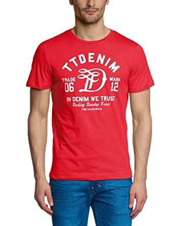 TOM TAILOR Denim new ci print tee 1/312 10271780912 T-shirt  Manches courtes Homme -  Rouge - Rot (rio red) - Small