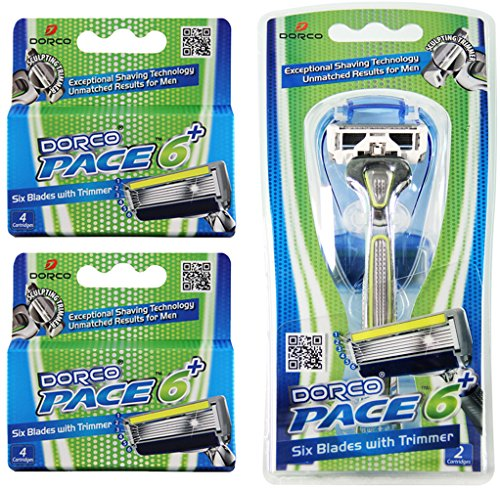 Dorco Pace 6 Plus- Six Blade Razor System with Trimmer - Value Pack (10 Cartridges + 1 Handle) (Reusable Sharps Container compare prices)