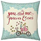 Valentine Gifts for Boyfriend Girlfriend Love Printed Cushion 12X12 Filled Pillow White You & Me Forever Cycling Couple Gift for Him Her Fiance Spouse
