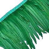 Sowder Rooster Hackle Feather Fringe Trim 10-12inch in Width Pack of 1 Yard(Dark Green) (Color: Dark Green)